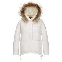 女士羽绒服大毛领 季新款短款保暖大码女装外套 白色 180/XXL