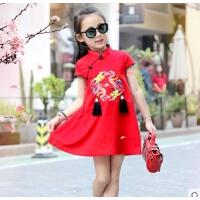 夏款中国风连衣裙母子男女童唐装旗袍三口全家套装
