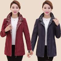 中年人女春装大码夹克中长款外套40-50岁中老年妈妈宽松休闲风衣