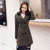 新款秋冬装女风衣中长款韩版修身双排扣风衣外套 QH9803