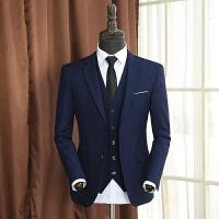 西服套装男士三件套职业正装商务修身西装伴郎服韩版新郎结婚礼服 宝蓝色上衣和裤子
