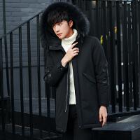 冬季新款羽绒服男中长款加厚连帽毛领外套男士青年韩版修身款男装 黑色