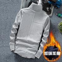 冬季男士加绒高翻领毛衣 韩版修身男装纯色针织保暖打底衫线衣