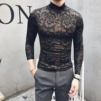 秋季英伦绅士打底衫男士半高领毛衣韩版修身体恤男装针织衫