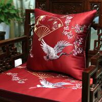 中式刺绣沙发垫坐垫实木家具椅垫罗汉床座垫防滑中国风定制套