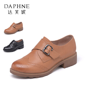 Daphne/达芙妮  英伦环扣厚底深口低跟单鞋