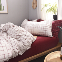 家纺2017秋冬款棉被子北欧简约全棉水洗棉四件套白色格子被套床笠床单床上用品