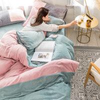 粉色少女心牛奶绒珊瑚绒四件套冬季双面保暖被套法莱绒床上用品