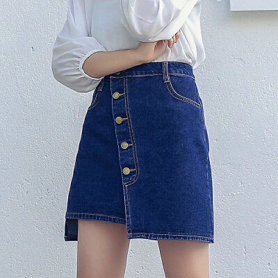 RANJU 然聚2018女装夏季新品新款时尚高腰单排扣百搭半身A字裙牛仔短裙