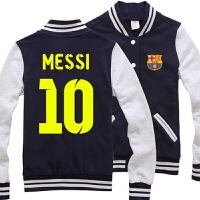 秋季新款休闲足球大码棒球服运动开衫卫衣夹克外套装男士梅西C罗 梅西 胸前巴萨 藏青