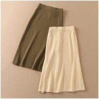 春季修身中长裙纯色包臀针织半身裙女A35-3-10777