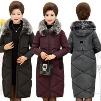 中老年冬季棉衣女冬装中长款中年大毛领连帽妈妈显瘦大码棉袄