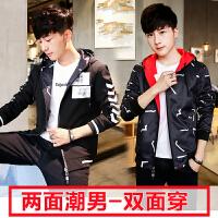 棉衣男士外套秋冬季两面穿韩版学生青少年薄款双面穿帅气加厚秋衣