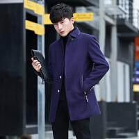 冬季男士风衣新款韩版帅气修身学生毛呢子外套男短款大衣潮流 803藏青 M