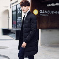 冬季新款男士棉衣男韩版修身立领中长款加厚棉袄外套潮装 黑色 #