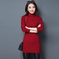 秋冬韩版新款高领中长款毛衣女套头修身羊毛羊绒衫中款针织打底衫 X
