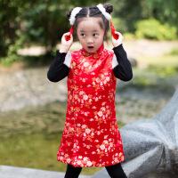 新款秋冬女童旗袍中式唐装绸缎栀子花开短袖中式马甲坎肩演出 红色