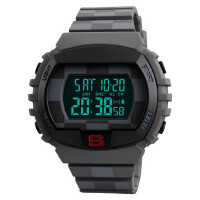 大表盘电子手表防水男士户外运动倒计时两地时间多功能腕表