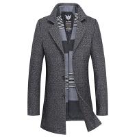 毛呢大衣男中长款韩版冬季加厚潮流帅气呢子风衣商务男士羊毛外套 花灰色 M