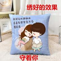 时尚汽车卧室客厅卡通动漫单个简单款十字绣抱枕卧室可爱情侣自己绣韩式靠垫一对新款