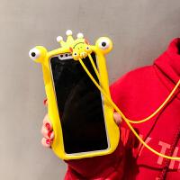 适用于iPhoneX手机壳抖音创意青蛙苹果6s/7plus/8挂绳硅胶软壳女会动的眼睛 6/6s4.7 会动的眼睛 绿
