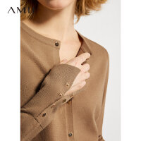 Amii洋气圆领针织开衫女2021年春新款修身上衣薄款外穿毛衣短外套