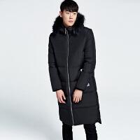 冬季男士加厚超长款过膝羽绒服男装外套白鸭绒保暖羽绒衣韩版修身 黑色