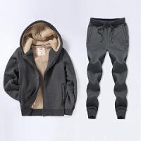 冬季加绒加厚保暖运动套装男小脚收口运动裤长裤连帽开衫卫衣修身