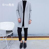 2017冬季新款男士羊绒大衣 青年加棉简约羊毛呢外套男风衣中长款 浅灰色