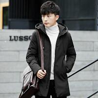 男士羽绒服修身中长款冬季新款韩版加厚白鸭绒外套潮反季 黑色AK-7905 M