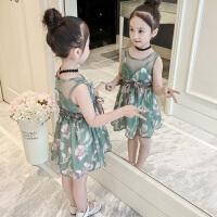 女童连衣裙2018新款韩版时尚女孩衣服洋气儿童夏装雪纺吊带公主裙