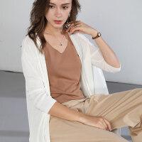 针织开衫女夏中长款薄款冰丝外套防晒衫外搭空调衫外披大码打底衫