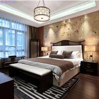 新古典水曲柳布艺床婚床卧室床实木床现代新中式双人床 1.5*1.9米 乳胶床垫 其他