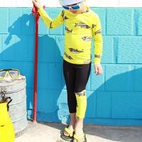 儿童长袖分体泳衣男童印花速干防晒浮潜服冲浪服鲨鱼图案小中大童