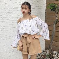 韩版时尚休闲套装春夏女装一字领露肩打底衫上衣+花苞短裤两件套