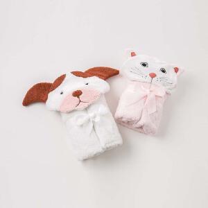 戴维贝拉新款男女宝宝浴巾可爱动物毛绒浴巾DB9593