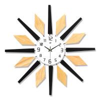 钟表挂钟客厅家用时尚静音大气创意挂表现代简约北欧个性装饰时钟 原木色 20英寸以上