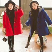 女童毛呢大衣冬装韩版中长款童装女孩加厚风衣中大儿童连帽外套潮