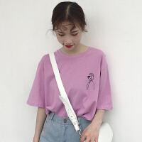 女生酷酷的衣服夏装2018新款韩版宽松百搭学生短袖T恤上衣