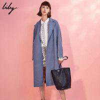Lily2017冬新款女装纯色系腰毛呢大衣收腰毛呢大衣117410F1125