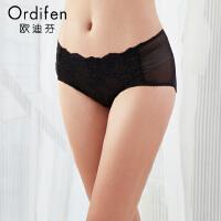 【2件3折到手价约:38】欧迪芬女士内裤蕾丝性感提臀中腰内裤OP8513