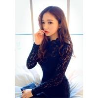 性感蕾丝旗袍紧身夜店smOL秘书制服真人长袖包臀裙套装