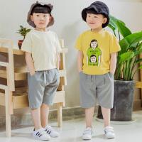 男童短裤夏装儿童裤子休闲中裤棉麻夏季中大童男童七分裤