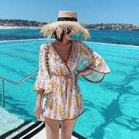 比基尼三件套超仙度假泳衣女遮肚显瘦可爱日系bikini罩衫ins泳装
