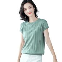 针织衫女中袖上衣短款新款女装短袖t恤ins潮宽松体恤