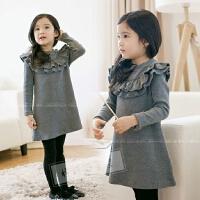 韩国童装女童荷叶边长袖连衣裙子秋冬新款韩版中大儿童公主裙