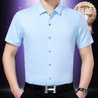 2018年夏季中年男士薄款亚麻衬衫纯色爸爸装短袖白衬衣口袋