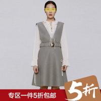 品牌撤柜女装冬装新款V领收腰背带裙宽松A摆毛呢连衣裙