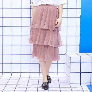 ZDORZI卓多姿夏季百搭时尚纯色压褶蛋糕半身裙734E206