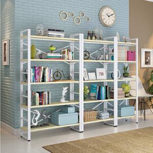书架 简约落地办公室铁艺书柜客厅置物收纳储物货架简易钢木组合隔板架子满额减限时抢家具用品